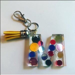 Handmade M Resin Key Chain, Bag Charm